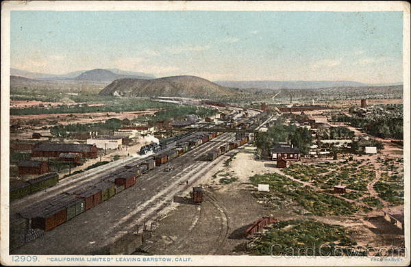card00597 fr - California Limited Train Leaving Station Barstow